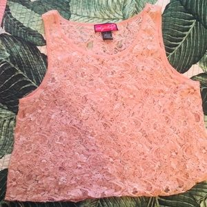 PINK LACE BEADED TOP SZ L